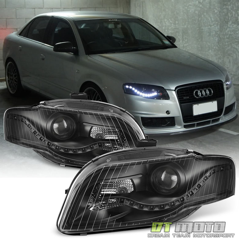 blk 2006 2008 audi a4 s4 b7 r8 style led drl halogen type. Black Bedroom Furniture Sets. Home Design Ideas