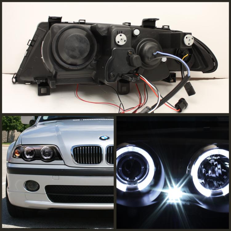 99 01 Bmw E46 3 Series 4dr Angel Eye Halo Projector Headlights Black