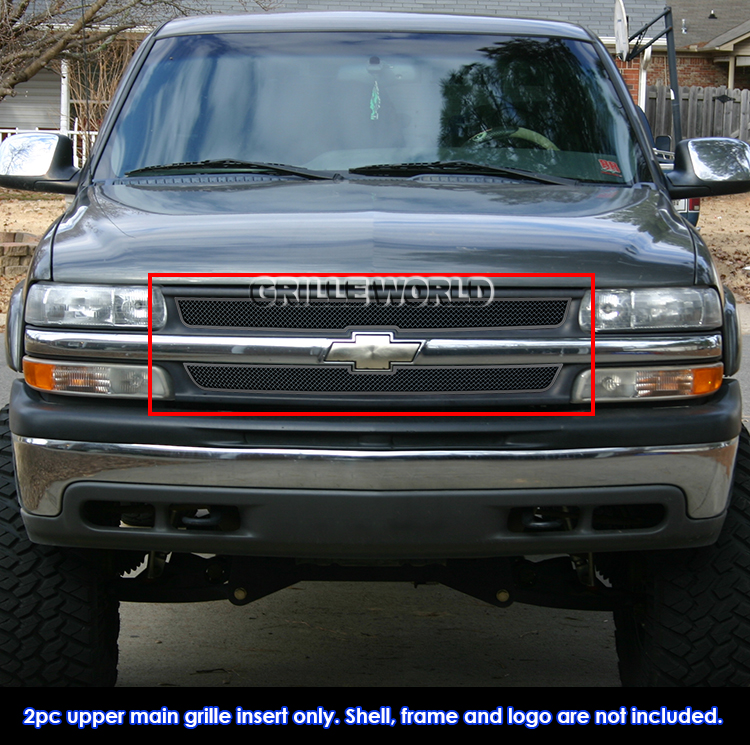 fits 1999 2002 chevy silverado 1500 00 06 suburban stainless black mesh grille ebay