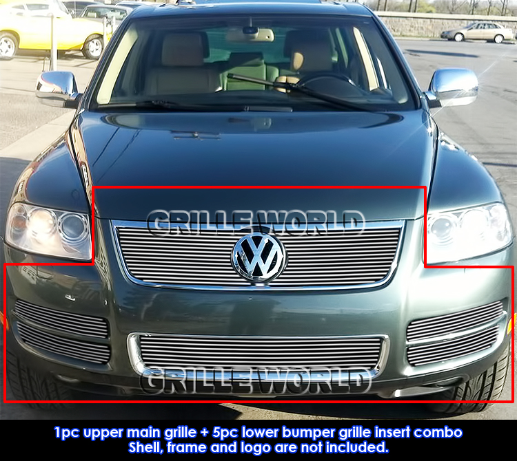 for 2003 2007 vw touareg with chrome trim v8 billet grille. Black Bedroom Furniture Sets. Home Design Ideas