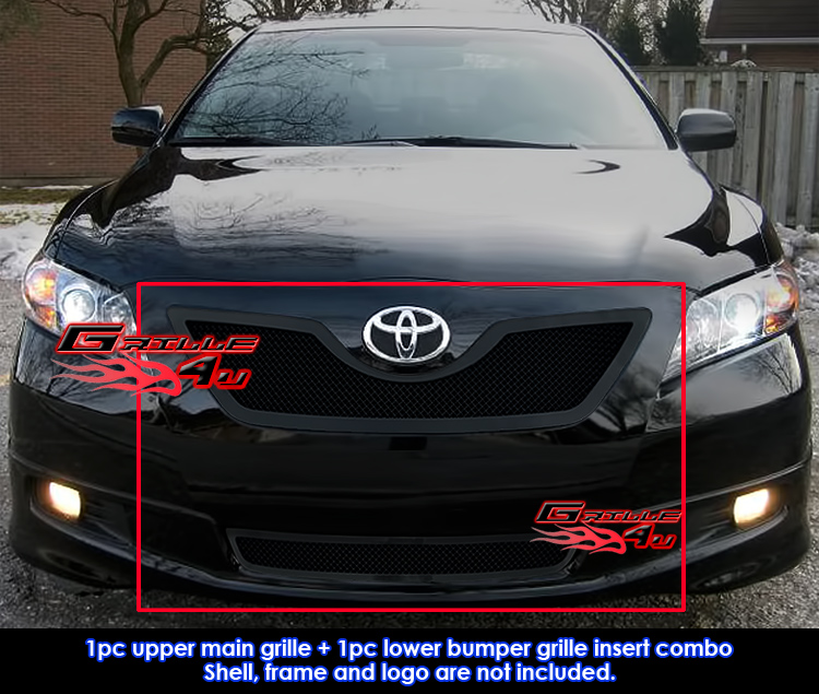2007 2009 toyota camry black stainless steel mesh grille grill combo insert ebay. Black Bedroom Furniture Sets. Home Design Ideas