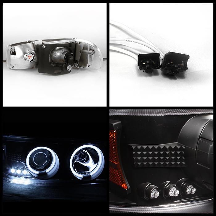 99 06 GMC Yukon Sierra Denali CCFL Halo Projector LED Black Headlights Lamps
