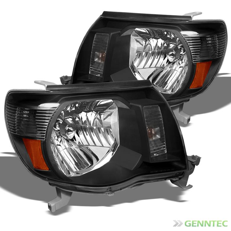 2005 2011 Toyota Tacoma Amber Headlights Black Head Lights Pair Lamp Set