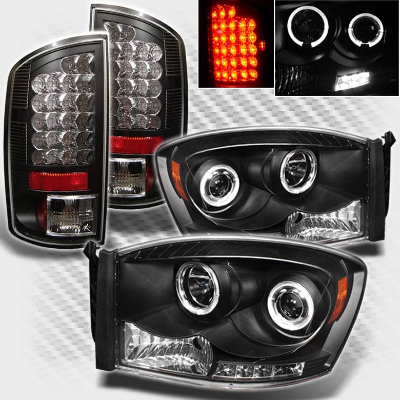 2007 2008 dodge ram twin halo led projector headlights lights led tail. Black Bedroom Furniture Sets. Home Design Ideas