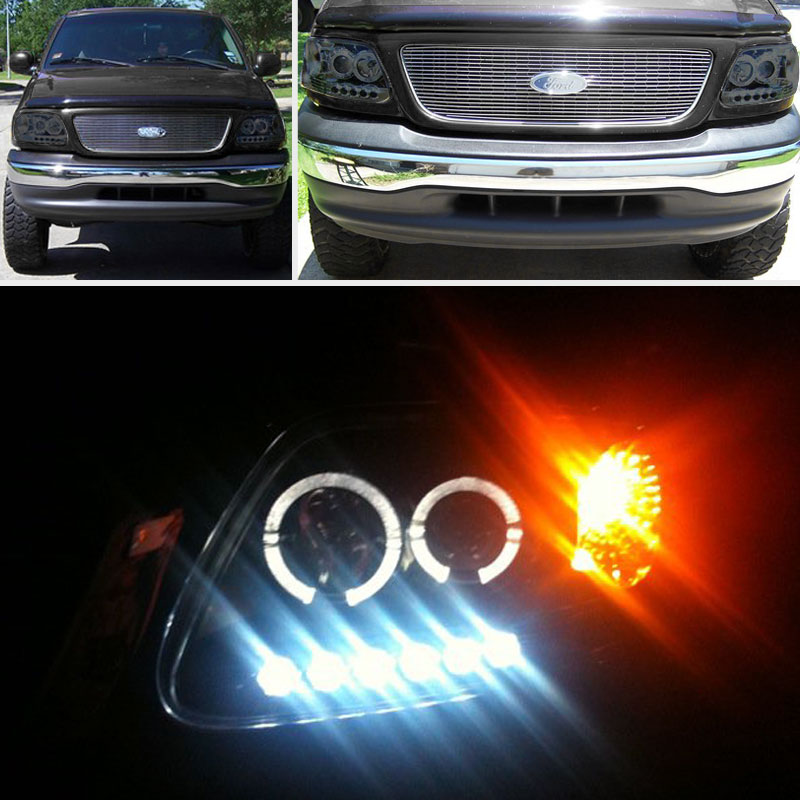 For Smoked 97 03 Ford F150 Twin Halo LED Pro Headlights Sm
