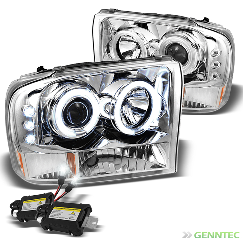 For 99 04 F250 350 450 550 Halo Led Projector Headlights