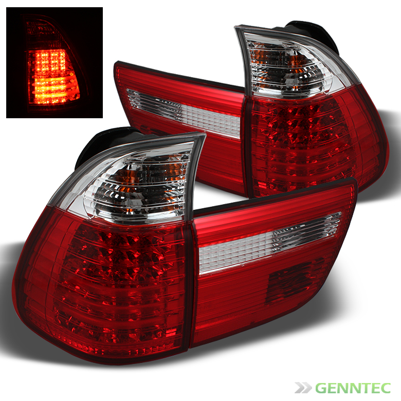 00 06 BMW E53 x5 LED Red Clear Tail Lights Lamps Rear Brake Pair Taillights Set