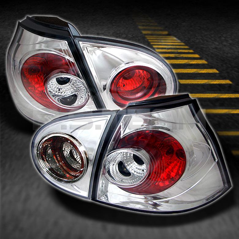 06 09 Volkswagen Golf GTI V Rabbit MK5 Chrome 4pcs Tail Lights w Trunk Piece