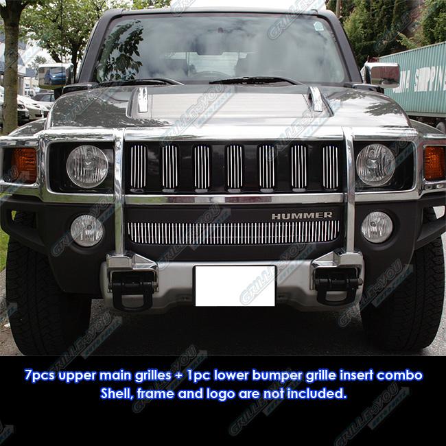 fits 06 10 hummer h3 vertical billet grille combo insert ebay. Black Bedroom Furniture Sets. Home Design Ideas