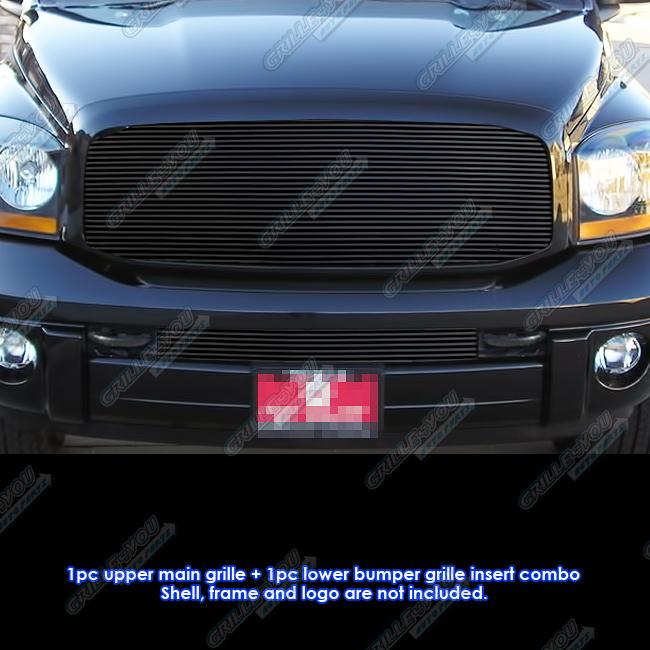 2006 2009 Dodge Ram 1500 Sinister Black 06 08 Ram 2500: Fits 06-08 Dodge Ram Pickup Black Billet Grille Combo