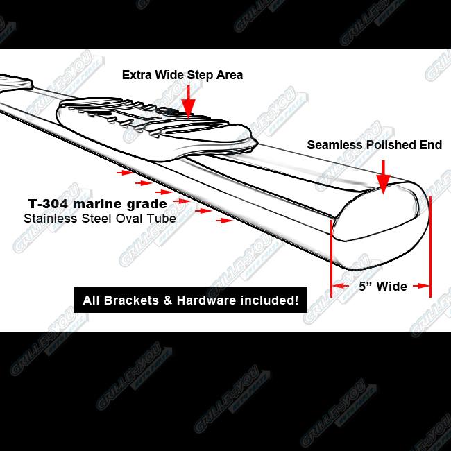 """Dodge Ram 2500 3500 Mega Cab 2010 2012 Platinum Oval Step: 5"""" NerfBar Chrome FOR 09-15 DODGE RAM 1500 CREW CAB/10-15"""