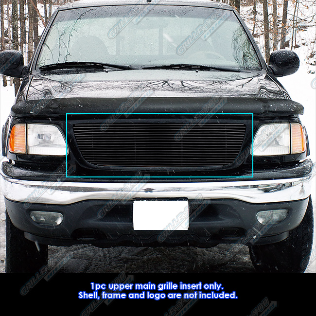 99 F150 Black: Fits 99-03 Ford F-150/Lightning/Harley Black Billet Grille