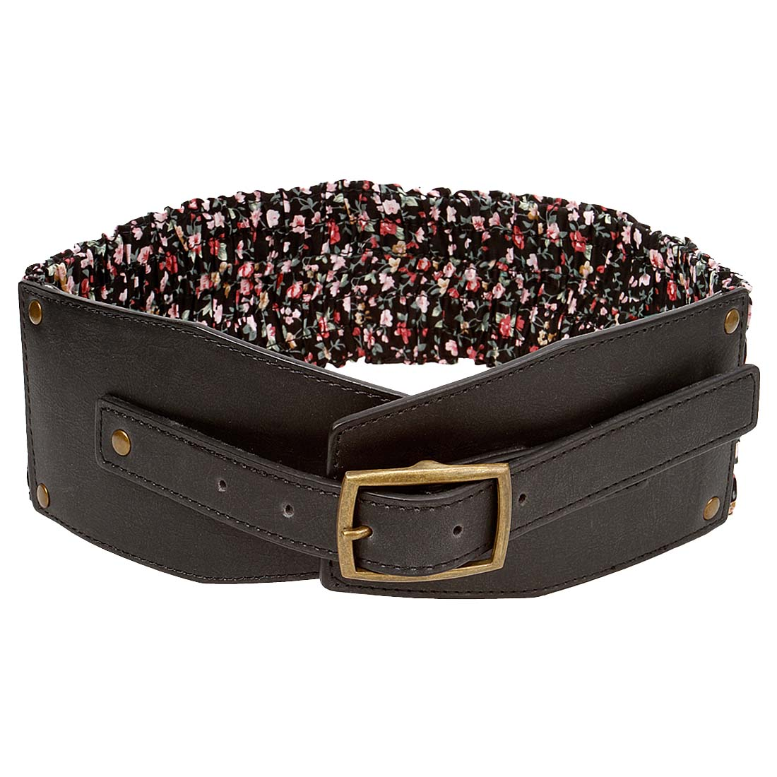BMC Floral Print Stretch Fabric Faux Leather Womens Fashion Thick Wide Belts