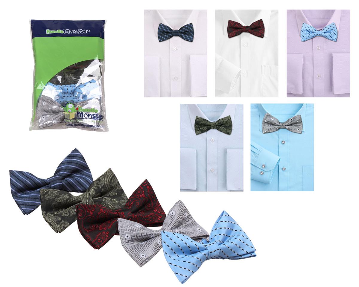 Bundle-Monster-Mens-Tuxedo-Adjustable-Neck-Bowtie-Bow-Tie-5pc-Mixed-Lot