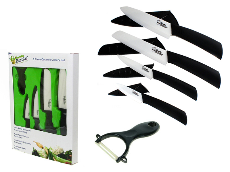 Bundle Monster New 9pc White Ceramic Kitchen Cutlery Knives and Sheath Set at Sears.com