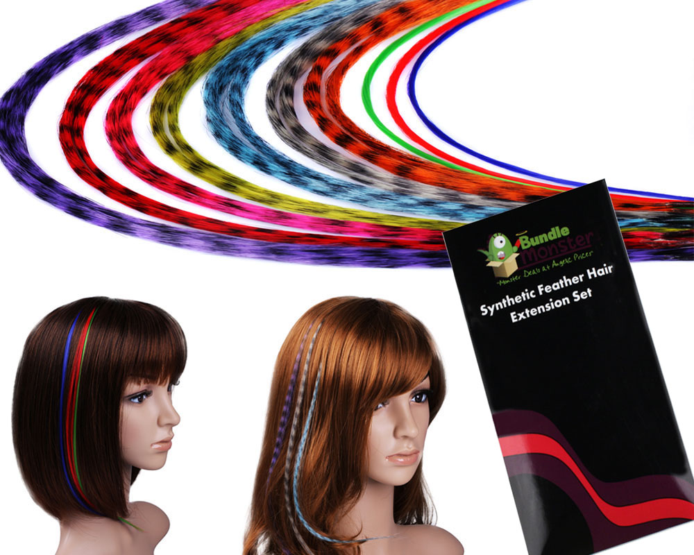 Bundle Monster 20 Grizzly / Solid Colors Feather Synthetic Hair Extensions Kit