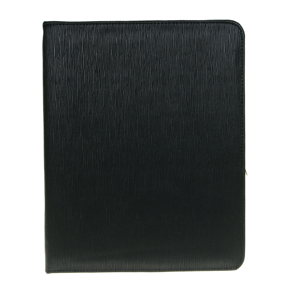 Bundle Monster Apple iPad 2/3 Black Synthetic Leather Zipper Folder Case Cover