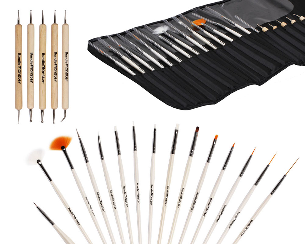 Bundle Monster 20pc Nail Art Design Painting Dotting Pen Brushes Tool Kit Set