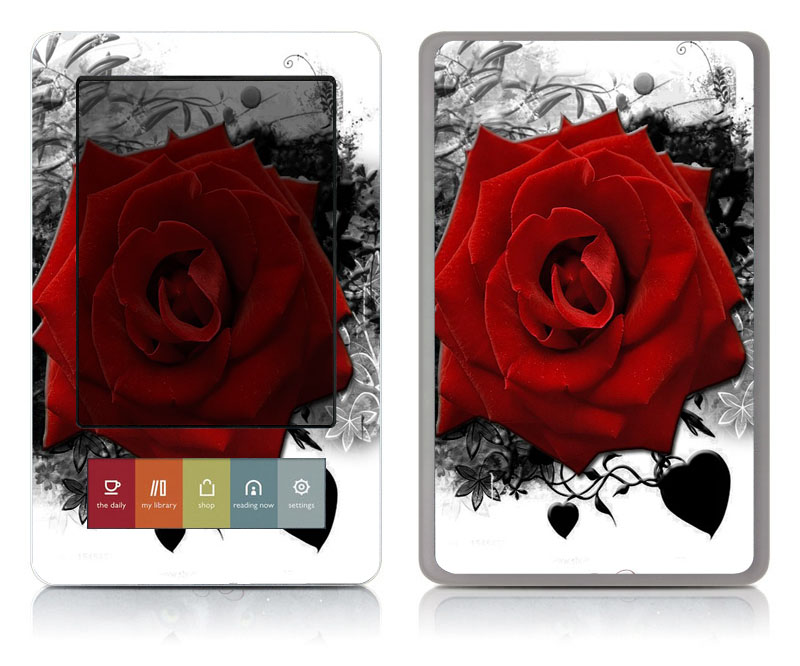 Bundle Monster Barnes Noble Nook Vinyl Art Decal Accessory - Red rose