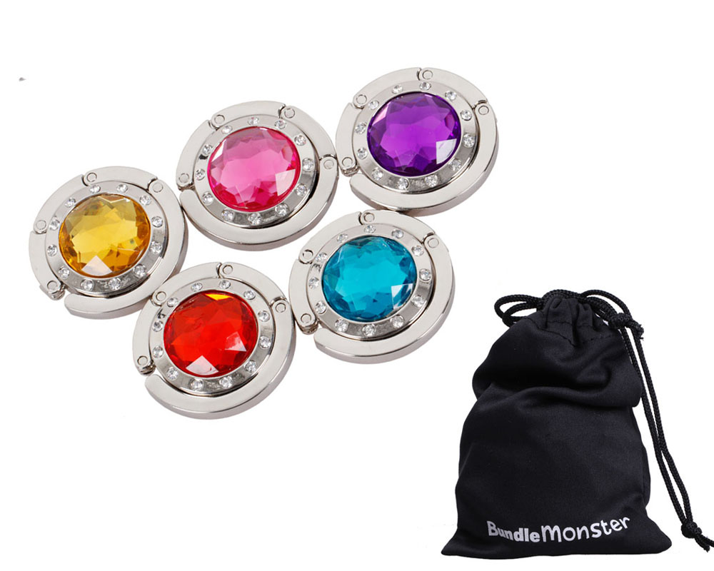 Bundle Monster 5 Set Folding Gem Crystal Stone Purse Bag Holder Hangers Hooks