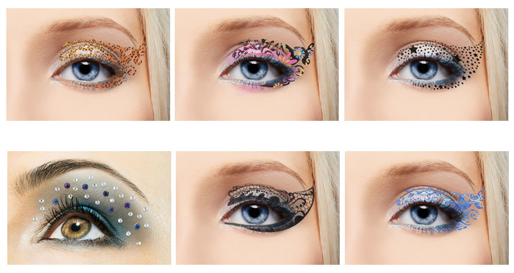 Bundle monster 8pc fashionable temp glitter crystal gem for Crystal eye tattoos