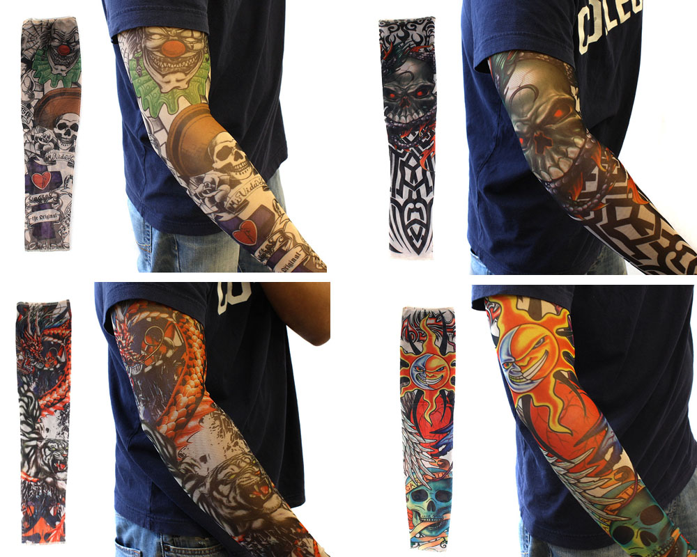 Bundle monster mix design fake tattoo sleeves body art arm for How to blend tattoos into a sleeve