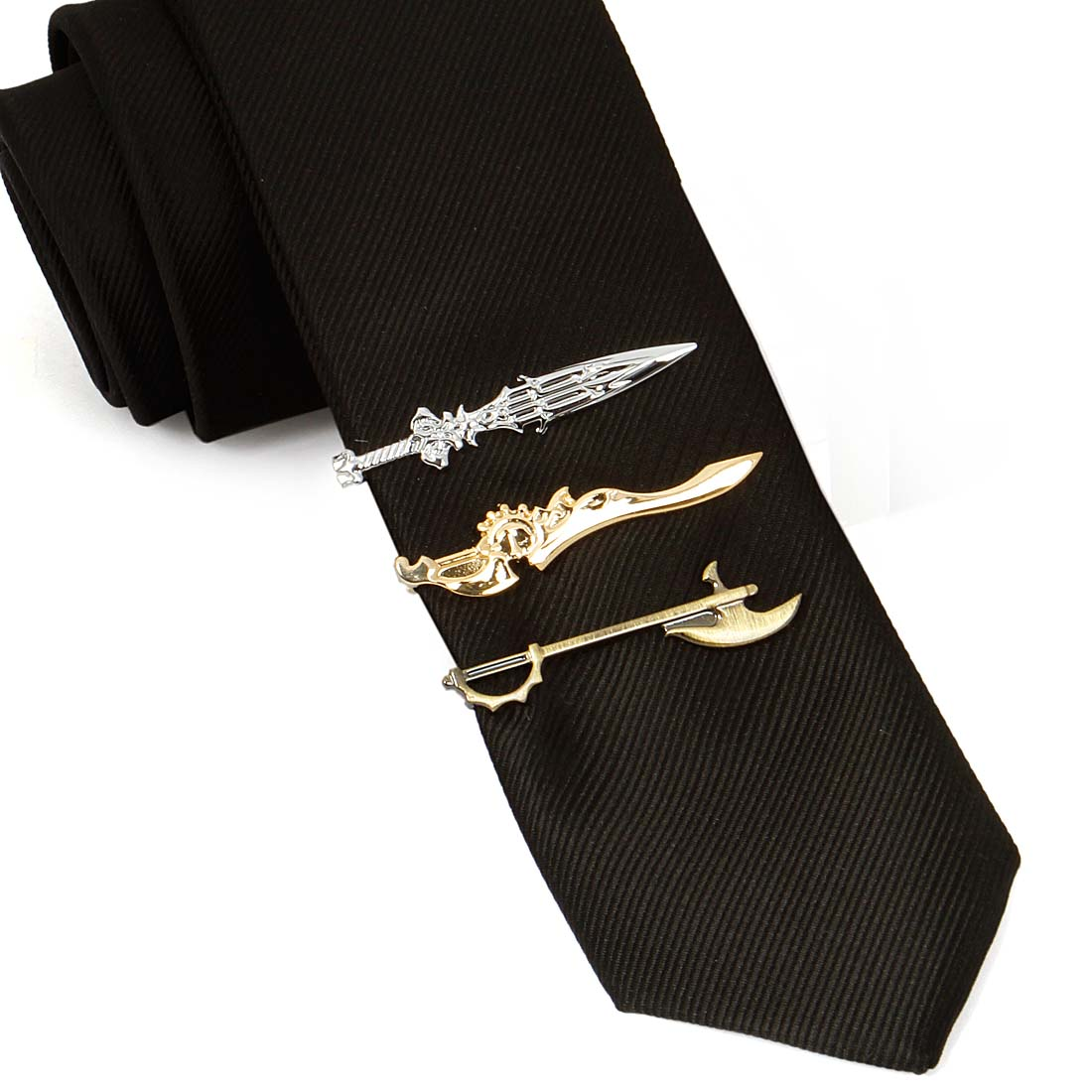 BMC Mens 3pc Gold Silver Medieval Weapons Tie Clip ...