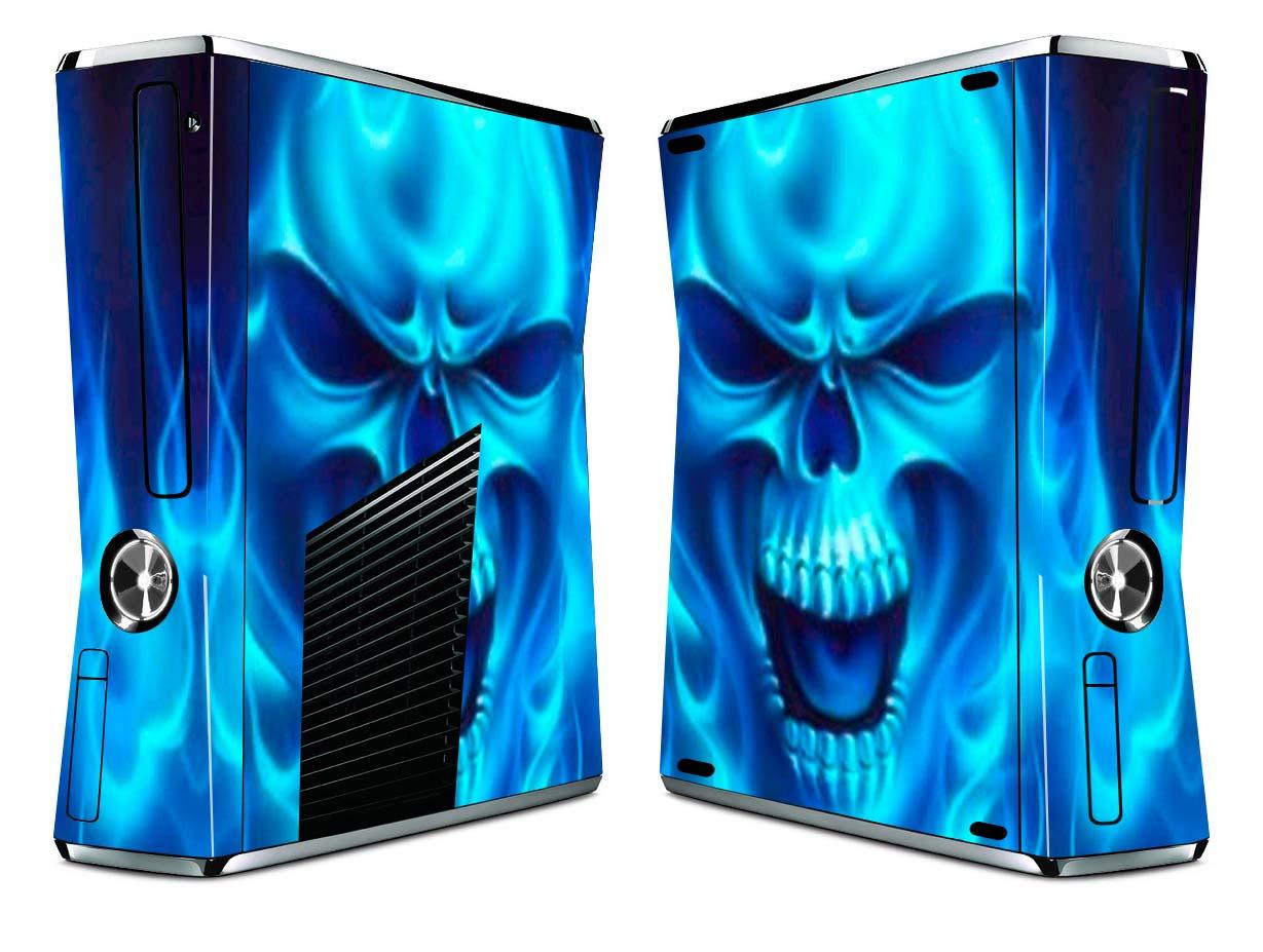 Bundle Monster Vinyl Skin Sticker for Xbox 360 S Slim - Blue SkullXbox 360 Slim Blue