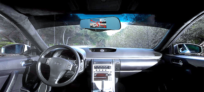 5 1080P Full HD Blue Tint Front Back Up Camera Recorder Mp18 Rearview Mirror