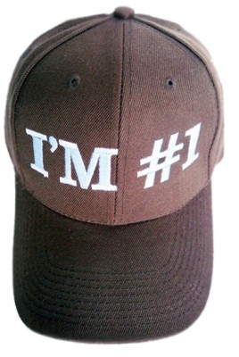 I-039-M-1-NUMBER-ONE-BROWN-EMBROIDERED-D-BASEBALL-CAP-HAT