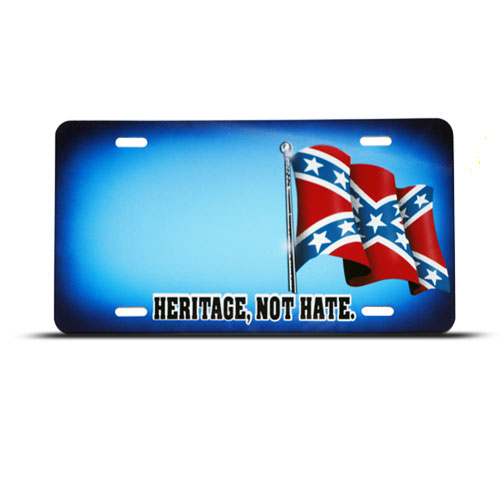 Confederate rebel flag heritage novelty airbrushed metal license plate