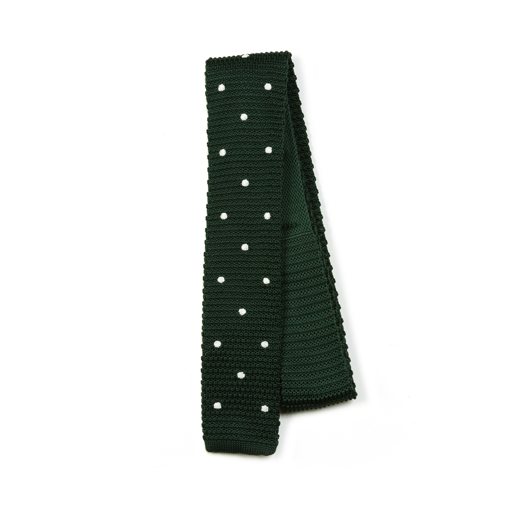 Polka Dotted Slim Knit Tie Square End