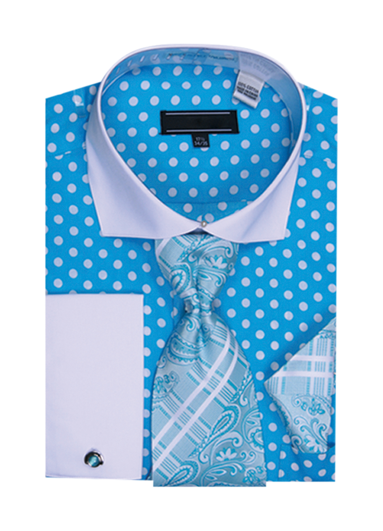 Mens Polka Dot Cutaway Collar Cotton Shirt Tie Cufflink
