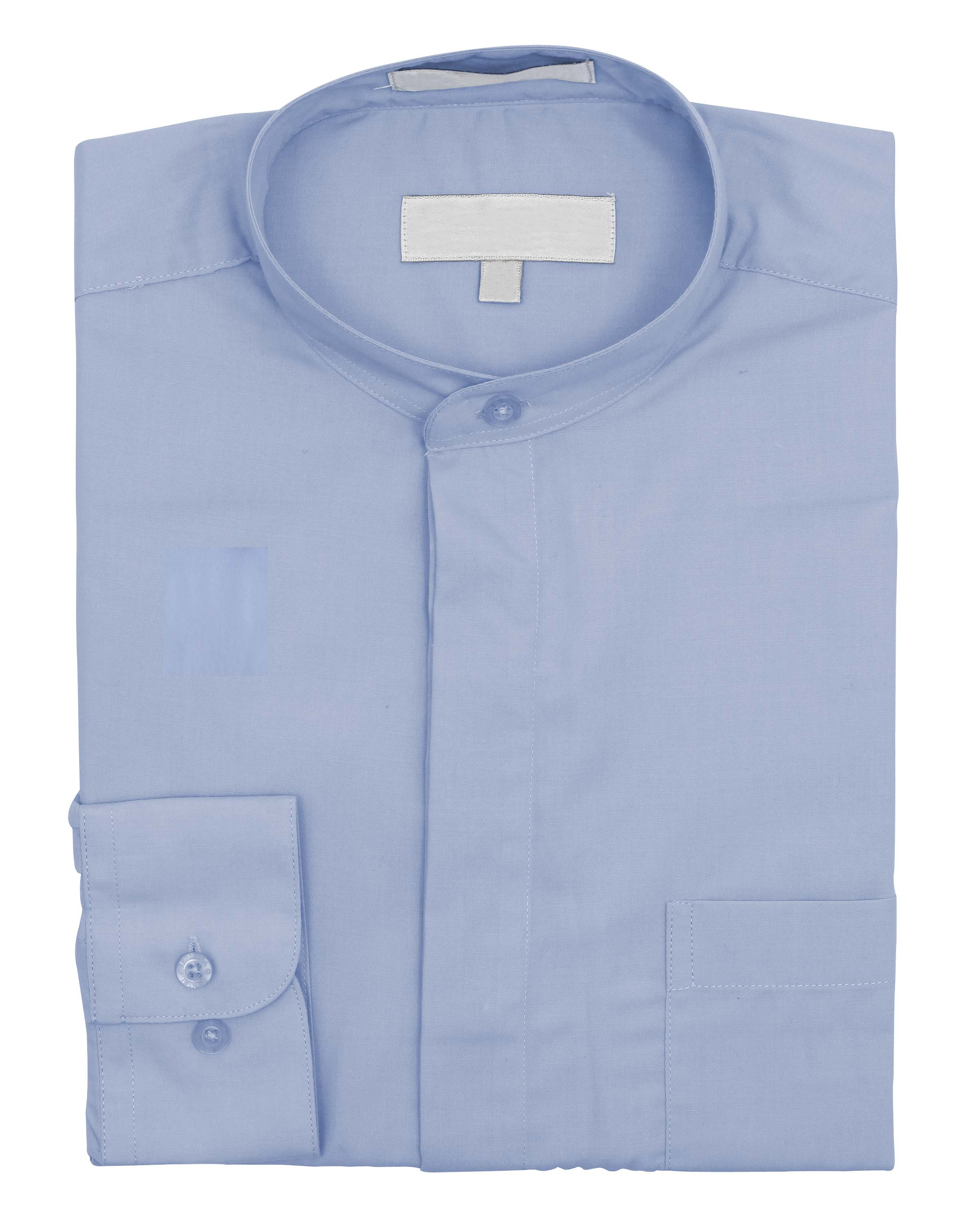 men 39 s collarless banded collar dress shirt ebay