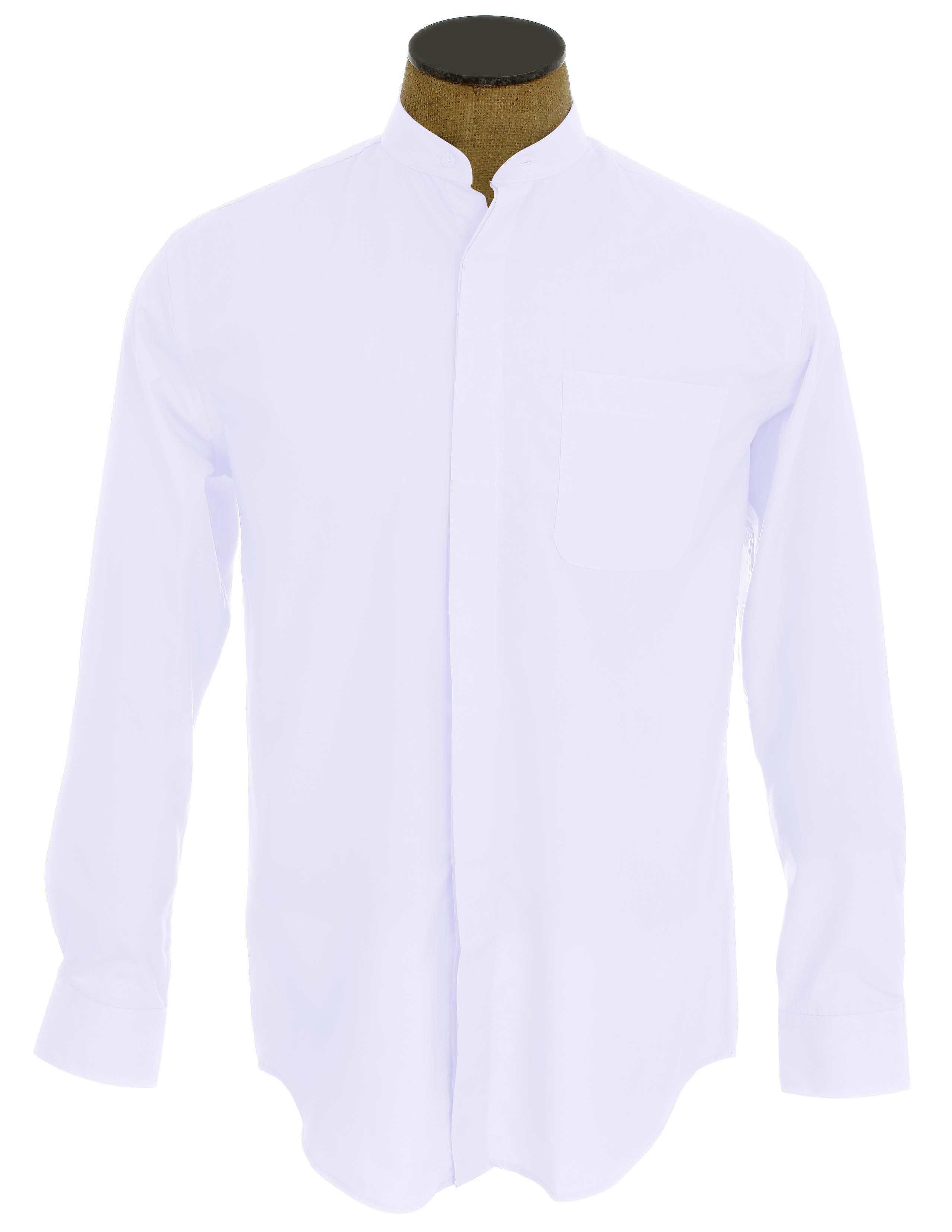 men 39 s collarless banded collar dress shirt ebay