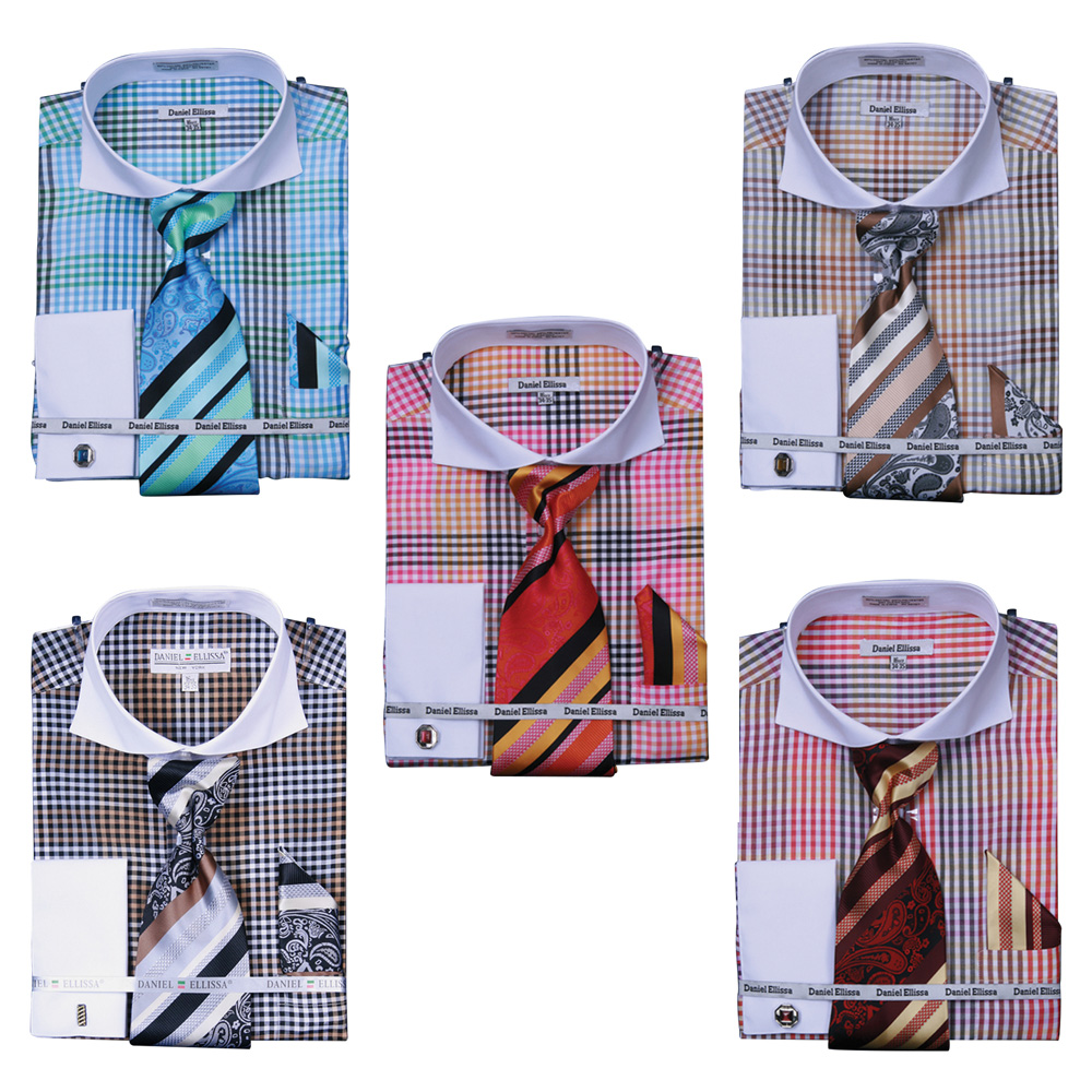 Men's Check Pattern 2-Tone French Cuff Shirt w Cufflinks