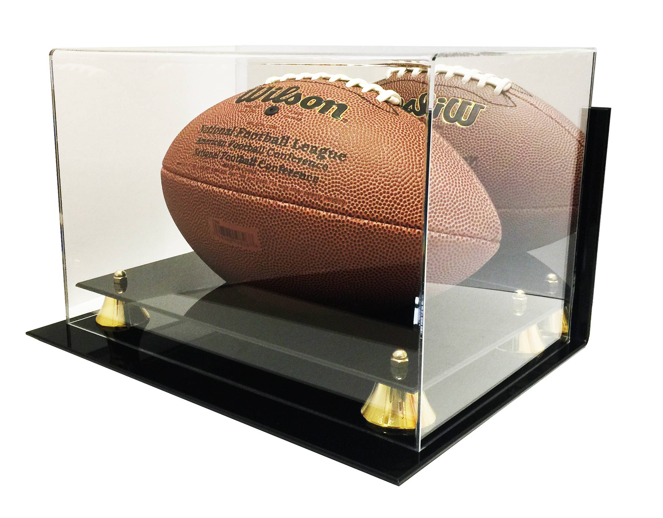 new deluxe acrylic wall mount football display case with mirror ebay. Black Bedroom Furniture Sets. Home Design Ideas