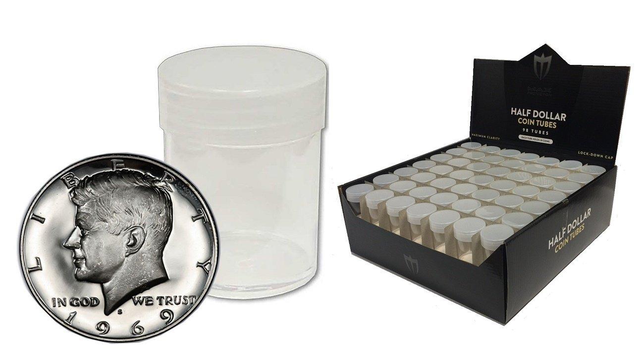 10 bcw brand half dollar round clear plastic coin holder storage tubes ebay. Black Bedroom Furniture Sets. Home Design Ideas