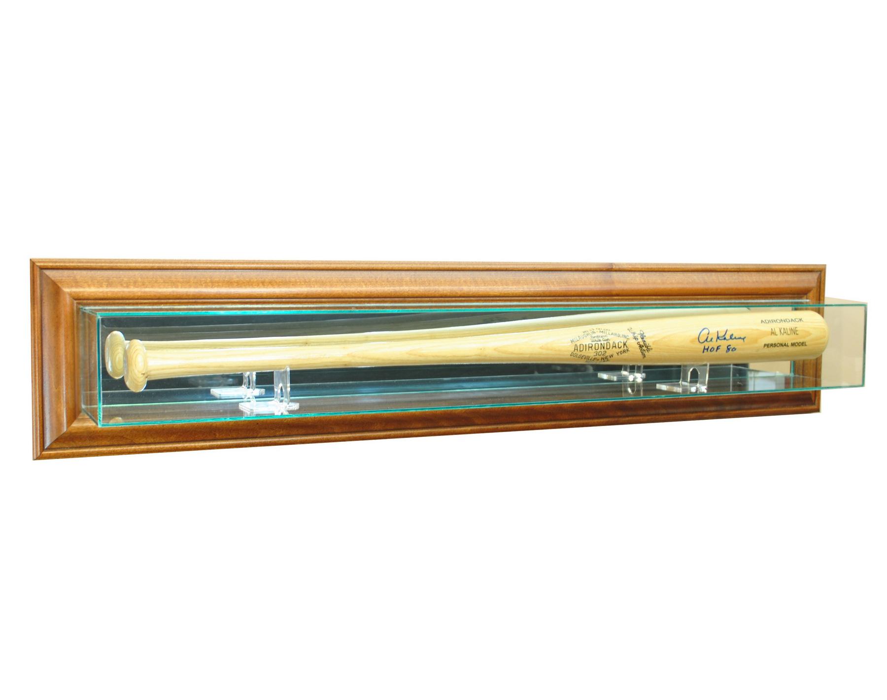 glass wall mount baseball bat display case with uv protection walnut wood frame ebay. Black Bedroom Furniture Sets. Home Design Ideas