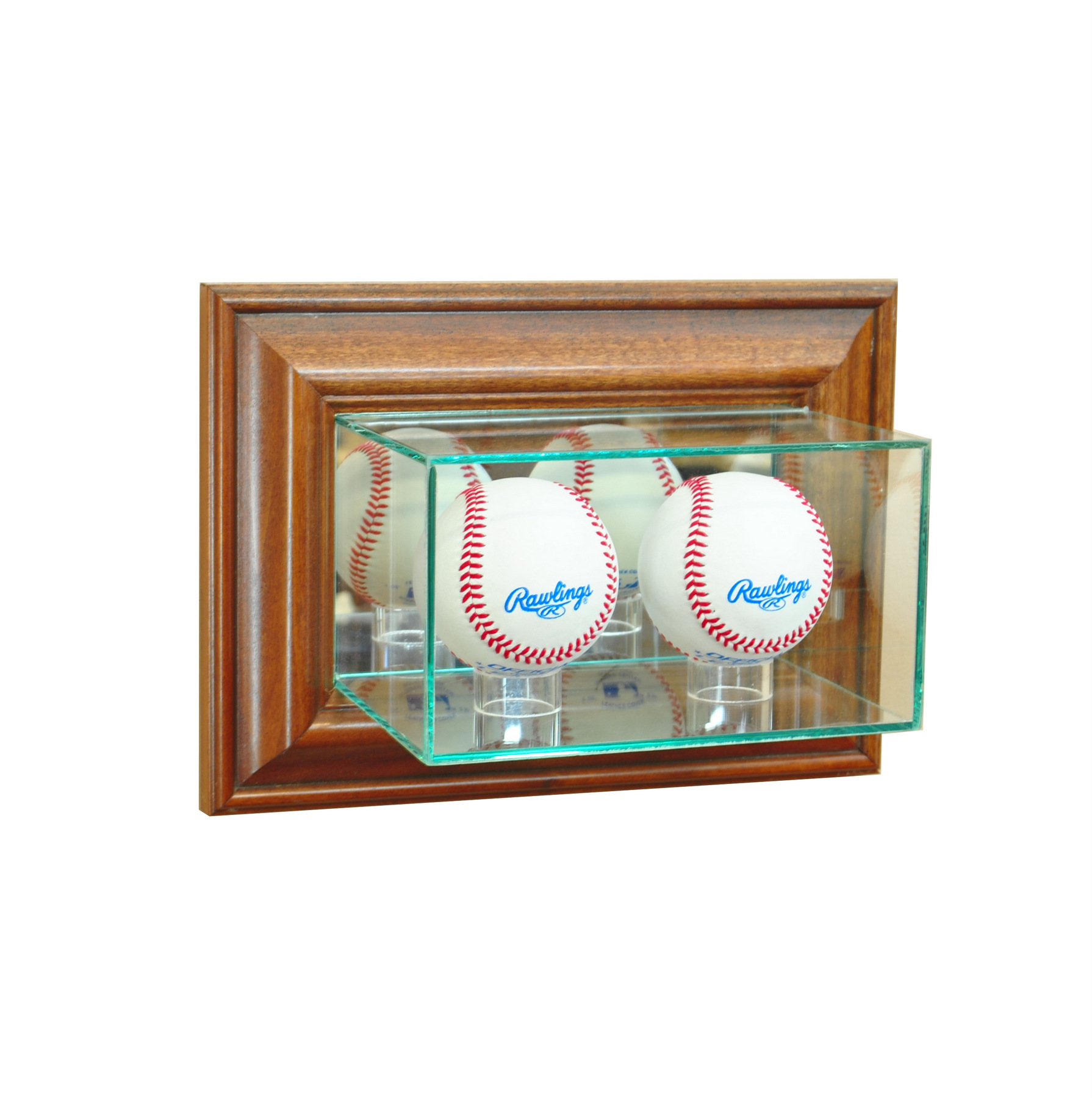 wall mount glass double baseball display case uv protection walnut wood mirror ebay. Black Bedroom Furniture Sets. Home Design Ideas