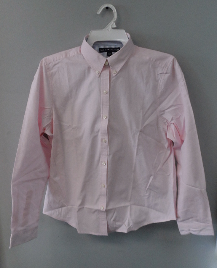 Tommy hilfiger men 39 s 100 cotton long sleeve button down for Pastel pink button down shirt