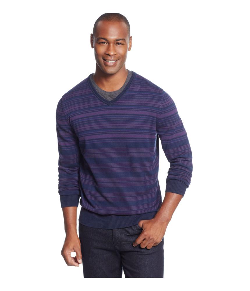 Alfani mens black striped pullover sweater mens apparel for Alfani mens shirt size chart