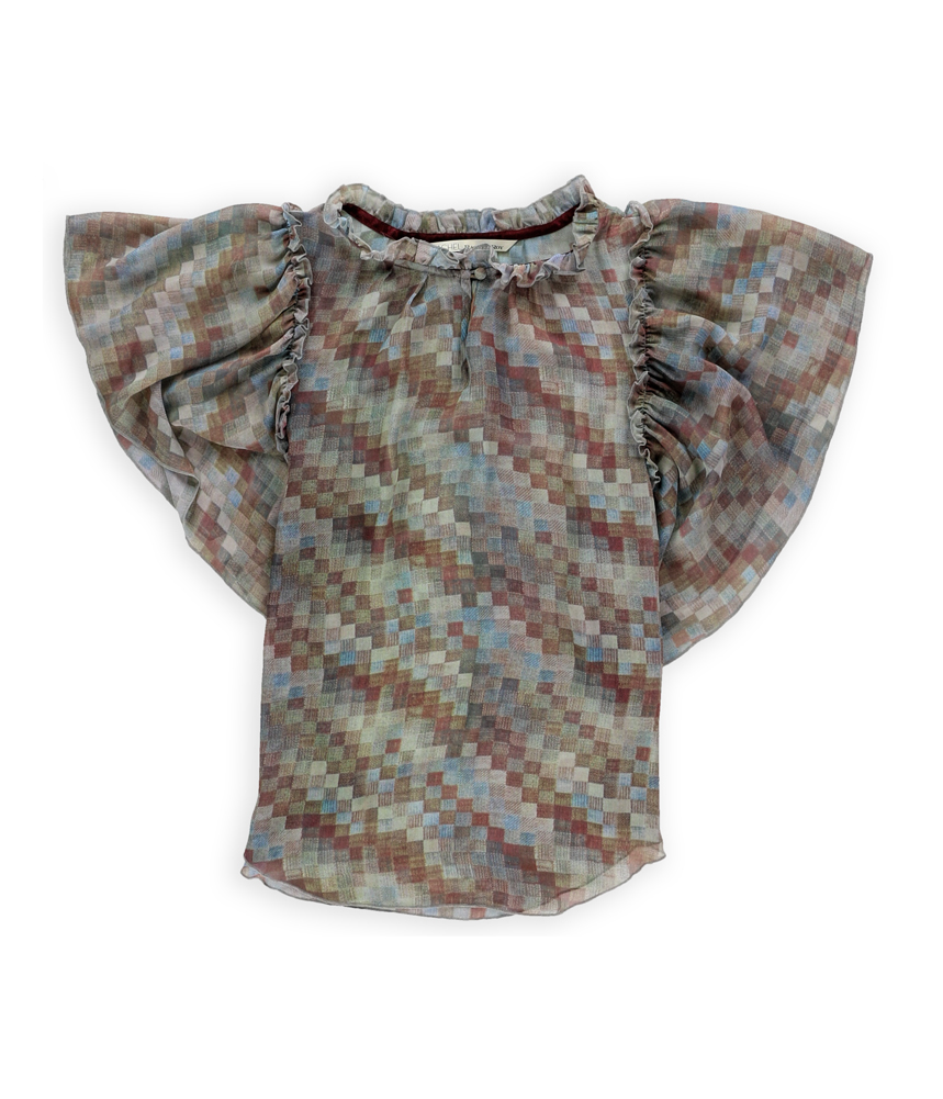 Rachel Roy Womens Sheer Checkered Pullover Blouse