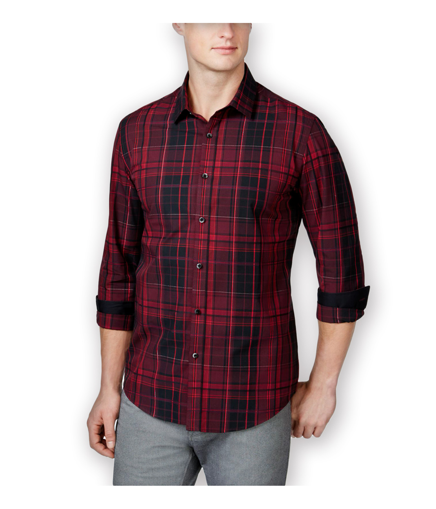 Alfani mens red mora plaid slim fit button up shirt ebay for Fitted button up shirts mens