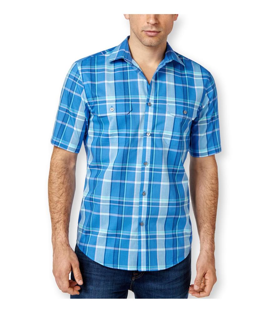 Alfani mens ss plaid button up shirt mens apparel free for Alfani mens shirt size chart