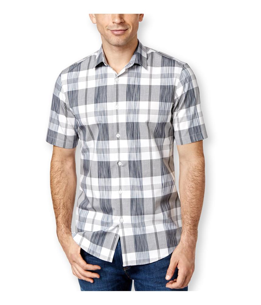 Alfani mens slim fit plaid button up shirt mens apparel for Alfani mens shirt size chart