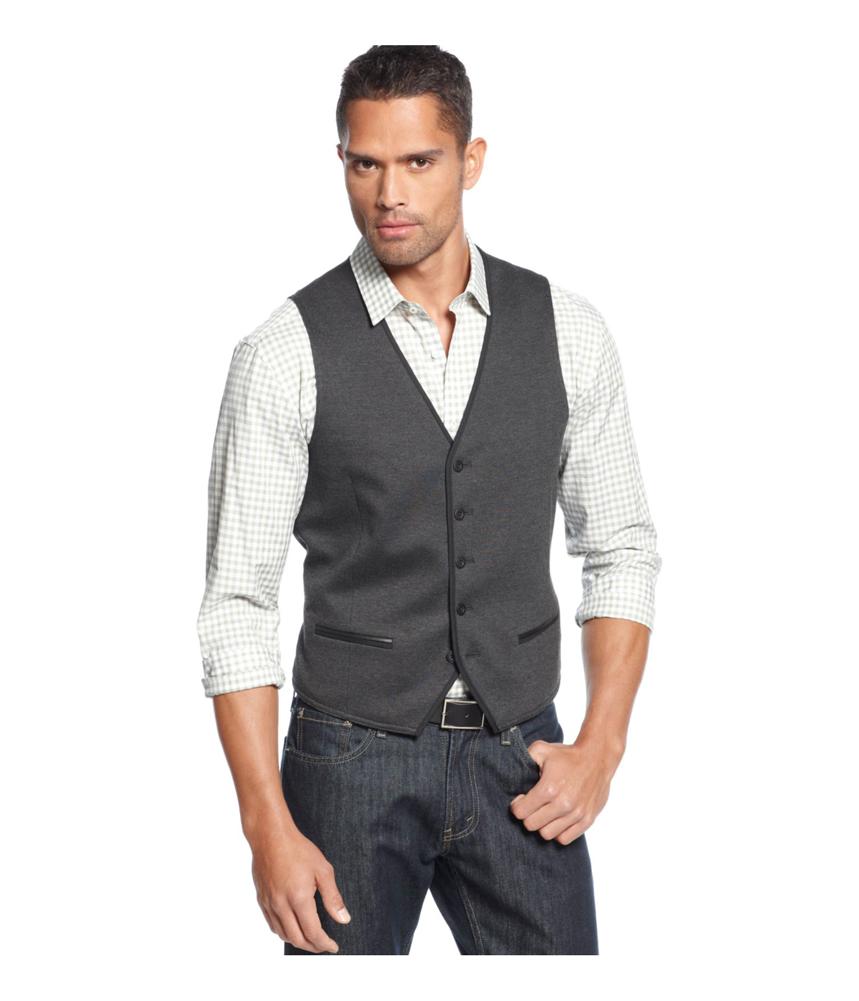 Alfani mens big tall knit five button vest mens for Alfani mens shirt size chart