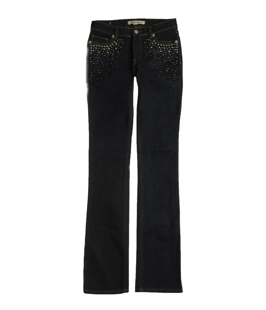 Andrew Charles Womens Backstage Rhinestoned Boot Cut Jeans