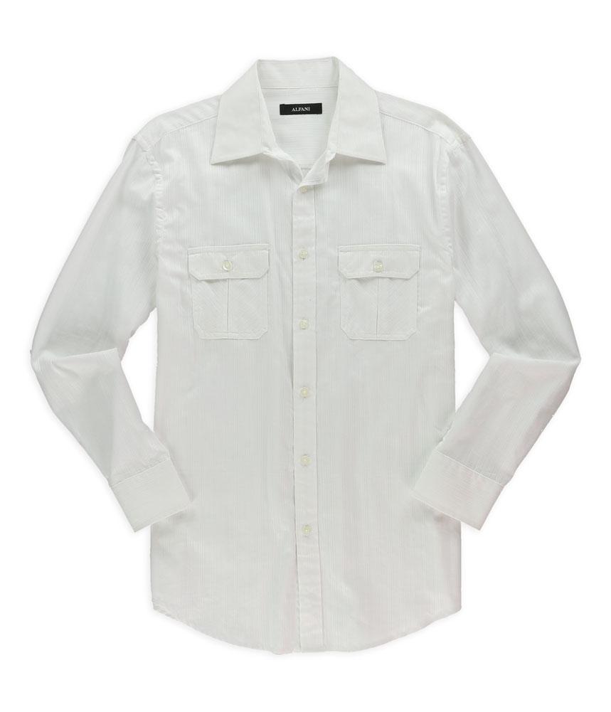 Alfani mens solid dobby button up dress shirt mens for Alfani mens shirt size chart
