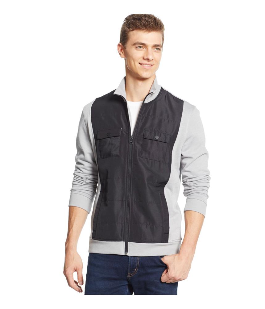 Alfani mens reyes mixed media shirt jacket mens apparel for Alfani mens shirt size chart